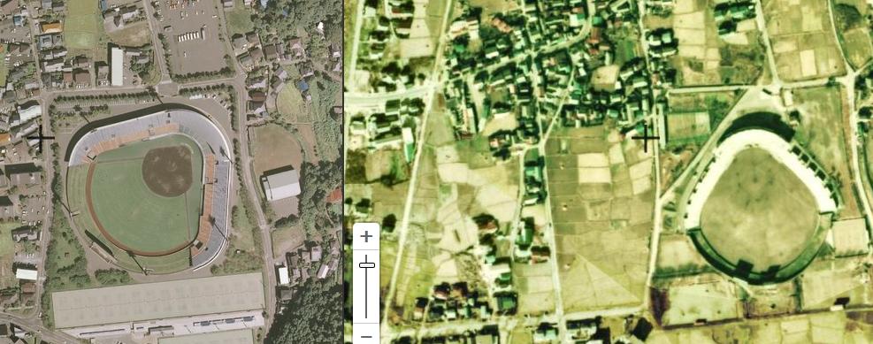 国土地理院の古い地図で松本市野球場を比較