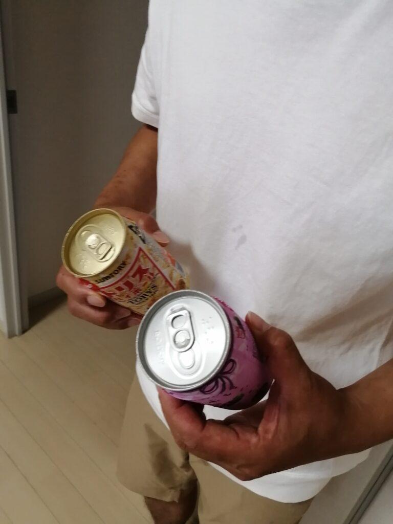 レジ袋有料化が始まりケチって手で缶を持って帰るおじさん(H.I.C不動産社長)