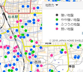 松本市の地盤強度マップ