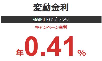 変動金利年率0.41%