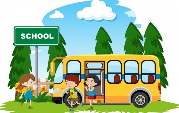 スクールバスに楽しげに乗車する子供たちのイラスト