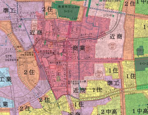 松本駅周辺の準防火地域(赤い部分)