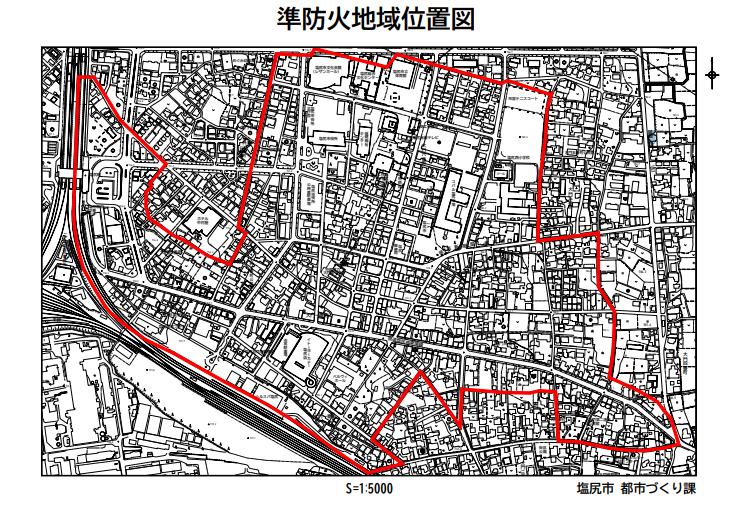 塩尻市の準防火地域位置図