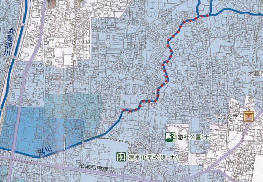 松本市街地を流れる湯川付近のハザードマップ
