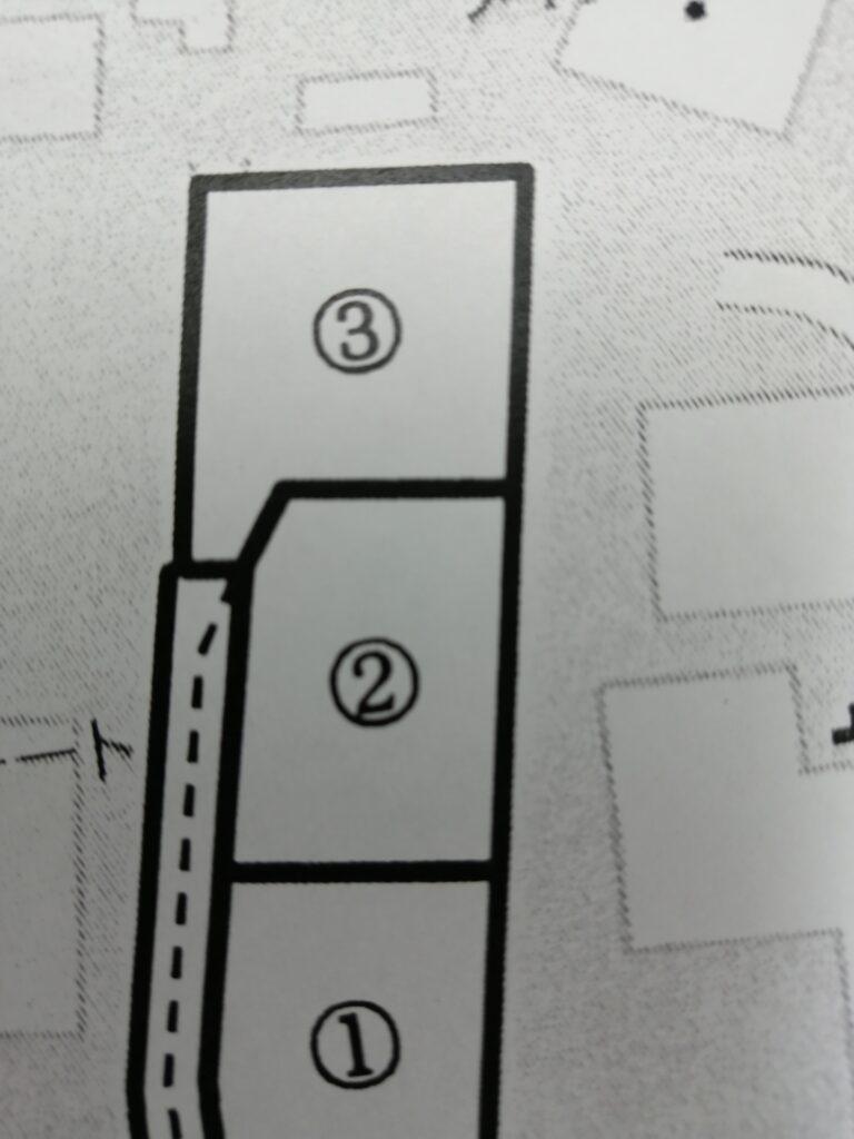地役権設定されている分譲地の区画図
