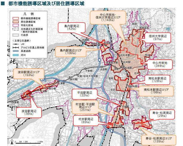 松本市の都市機能誘導区域及び居住誘導区域のマップ