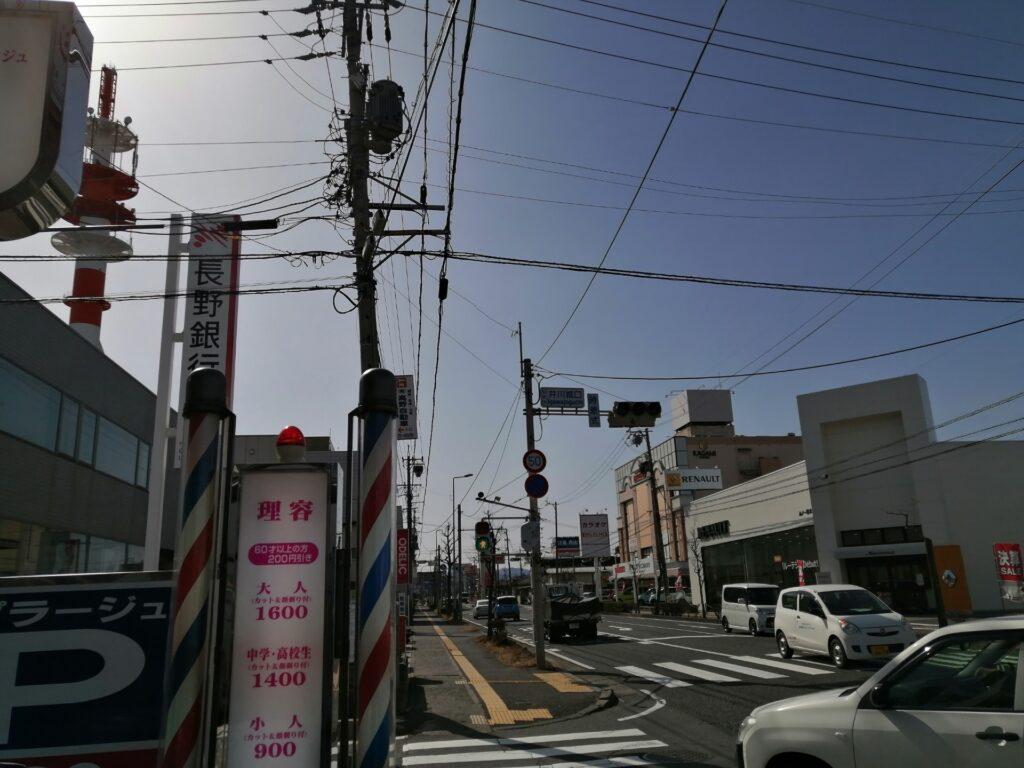 高宮東売土地までの道のり。長野銀行高宮支店様を左折。