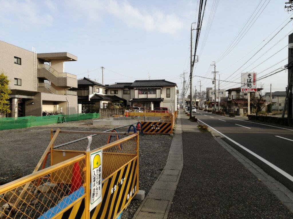 筑摩やまびこ通り沿いの建築現場