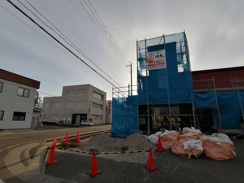 松本市筑摩にオープン予定の焼肉屋さん「煙力」の工事現場