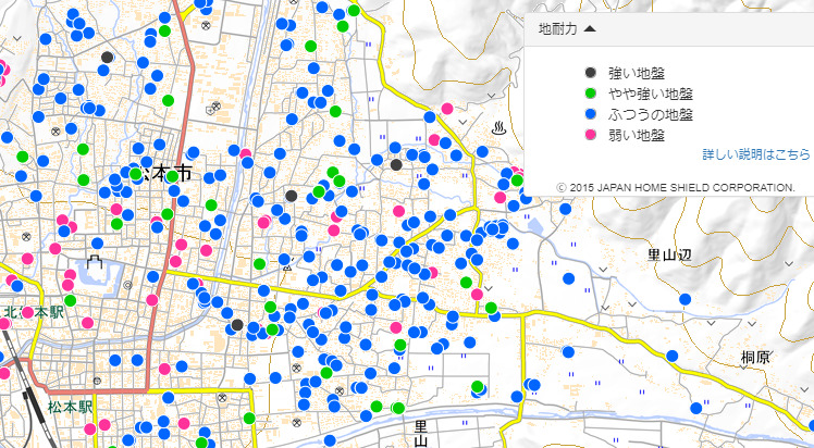 地盤サポートマップ(松本城周辺)
