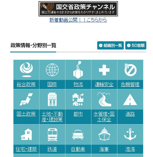 国交省のホームページ