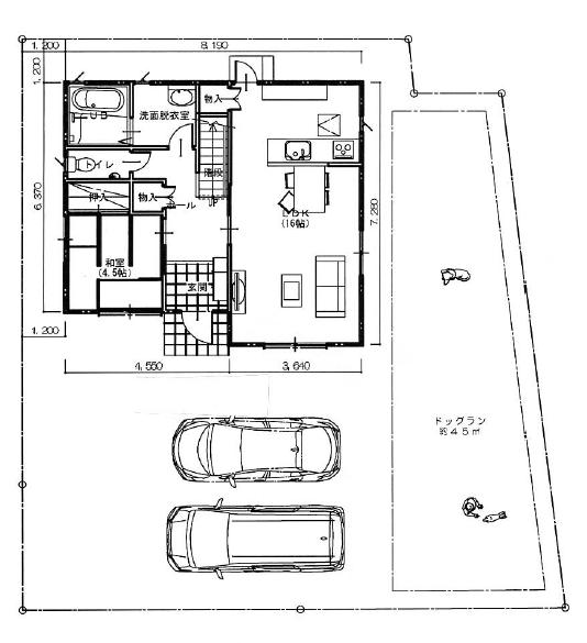 約45坪の敷地の配置図プラン