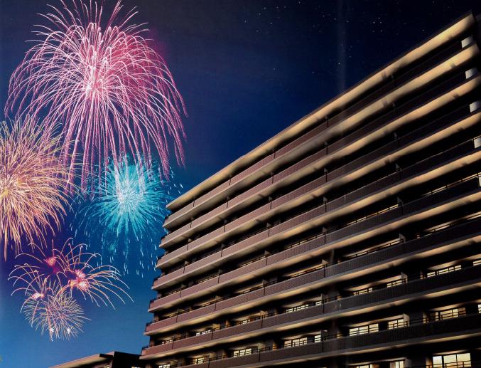 薄川の花火大会が目前で観覧できるダイアパレス松本筑摩