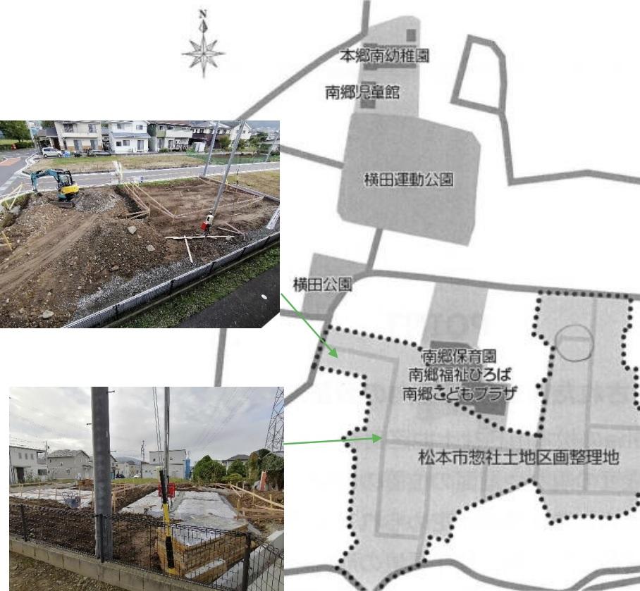 惣社土地区画整理地の建築現場地図
